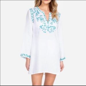 Johnny Was Marie Embroidered Linen Tunic Coverup